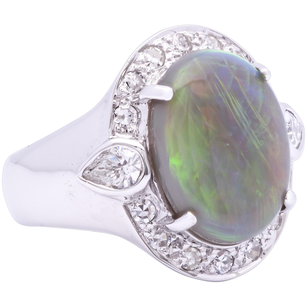 Women's 3.86ct Australian Opal Ring in 18K White Gold w/ Diamonds