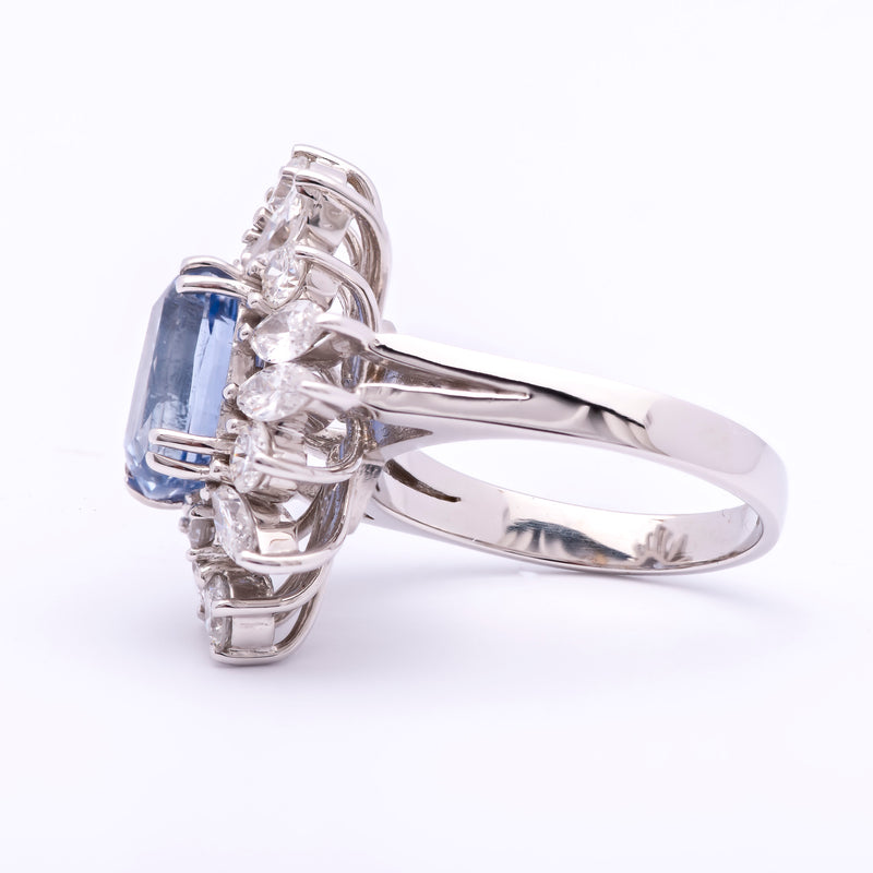 Women's Estate 4.29ct Blue Sapphire Ring in 18k White Gold w/ Diamonds