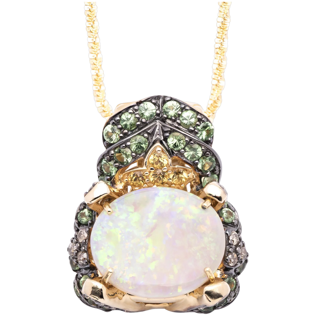4.50ct Opal Pendant in 14k Yellow Gold with Peridot, Citrine and Diamonds