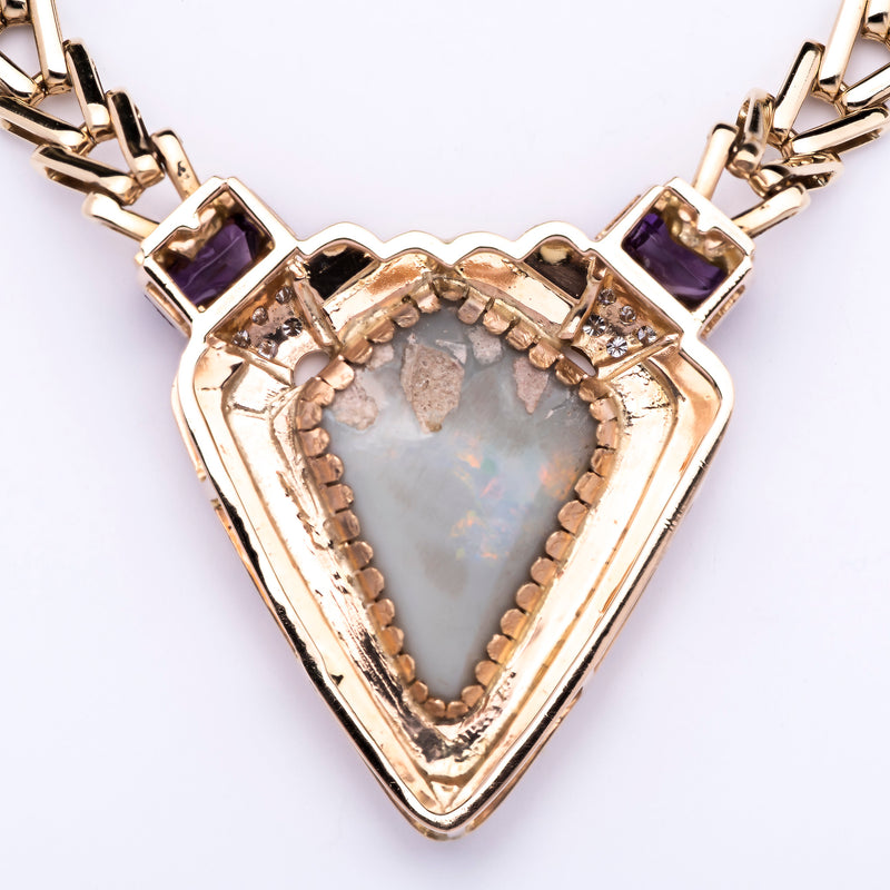 Women's 14K Yellow Gold Necklace with Centerpiece of Opal, Amethysts, Diamonds