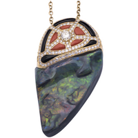 Black Opal Pendant (49.7ct) w/ Coral, Onyx & Diamond set in 18k Yellow Gold