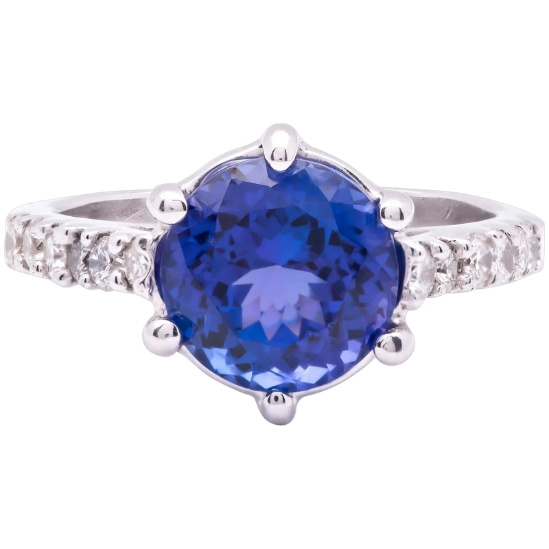 Women's ~4ct Tanzanite Ring in 14k White Gold w/ Diamonds