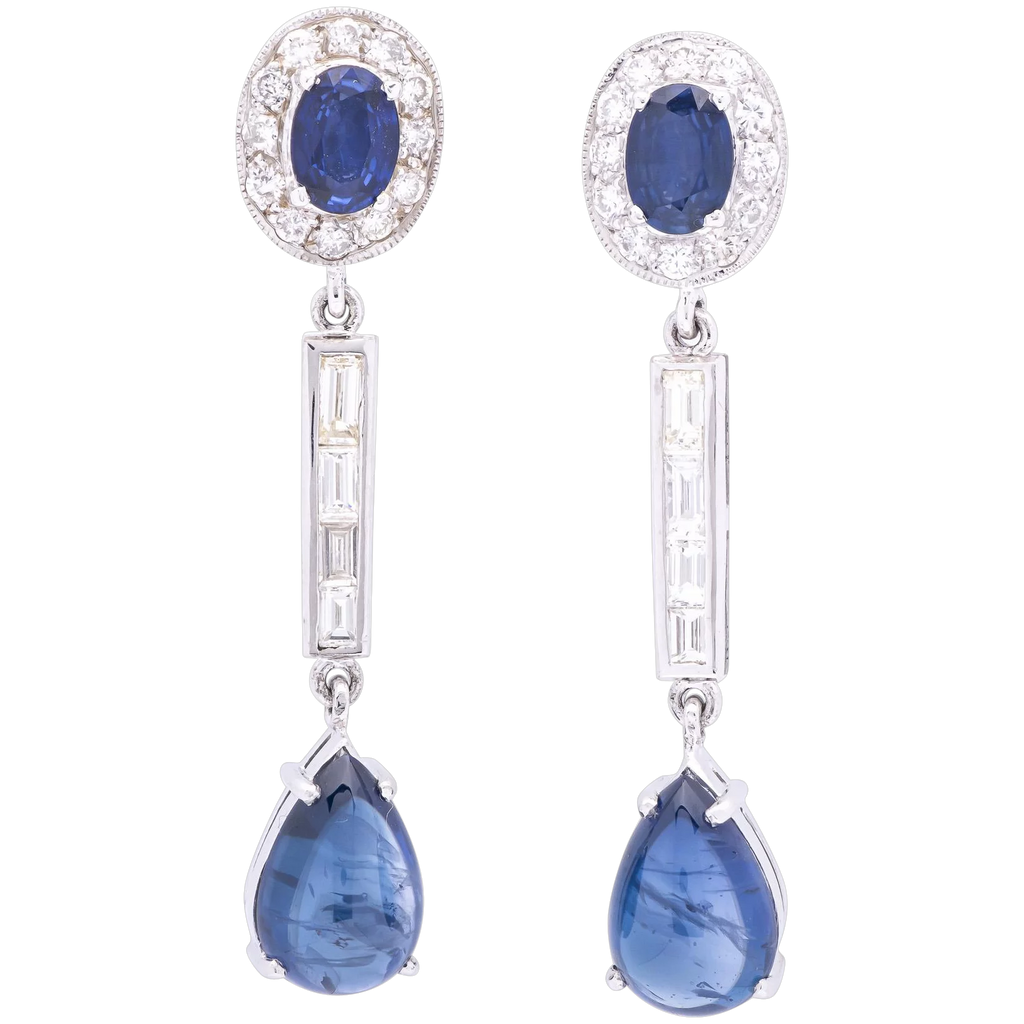 12tcw Blue Sapphire Earrings in 18k White Gold with Diamonds