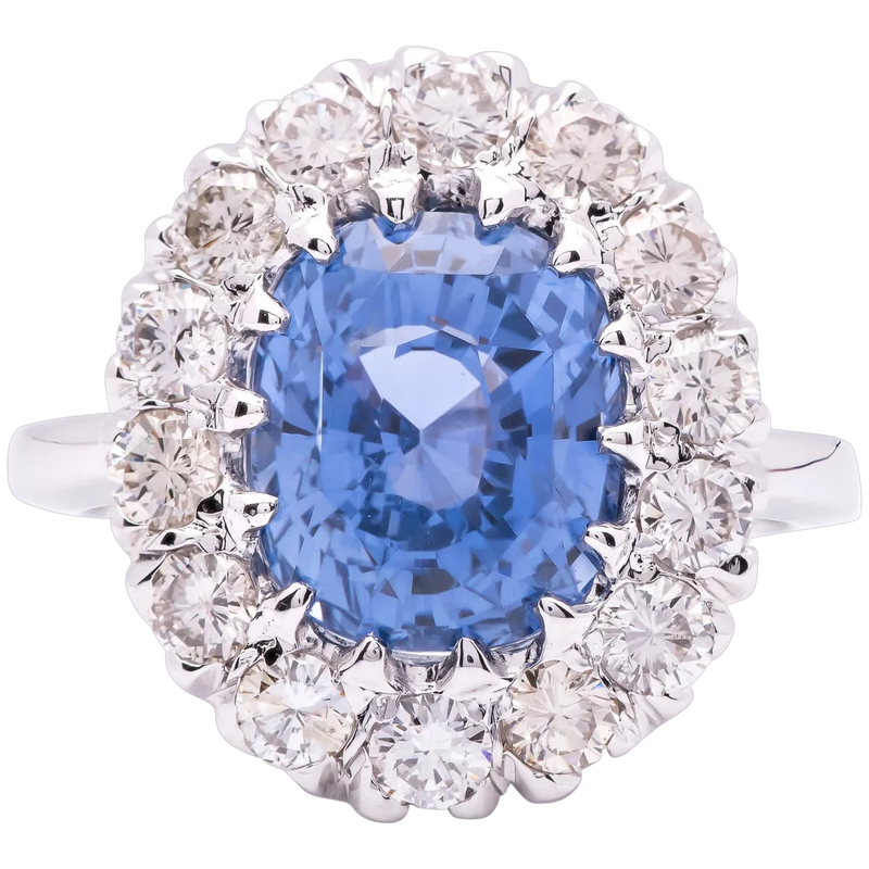 Women's ~3ct Natural Ceylon Sapphire Ring in 14k gold with Diamonds