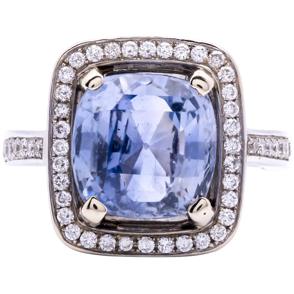 Estate Women's 6.16ct Blue Sapphire in 18K White Gold Ring with Diamond Accents