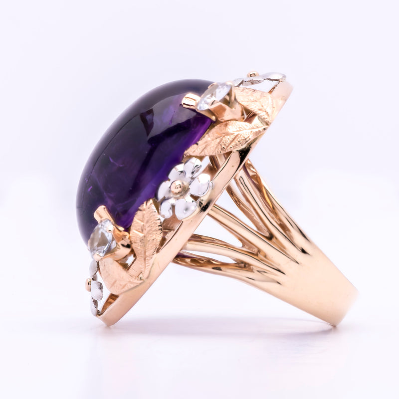 Women's 1930s Amethyst Ring with Sapphire - Art Nouveau