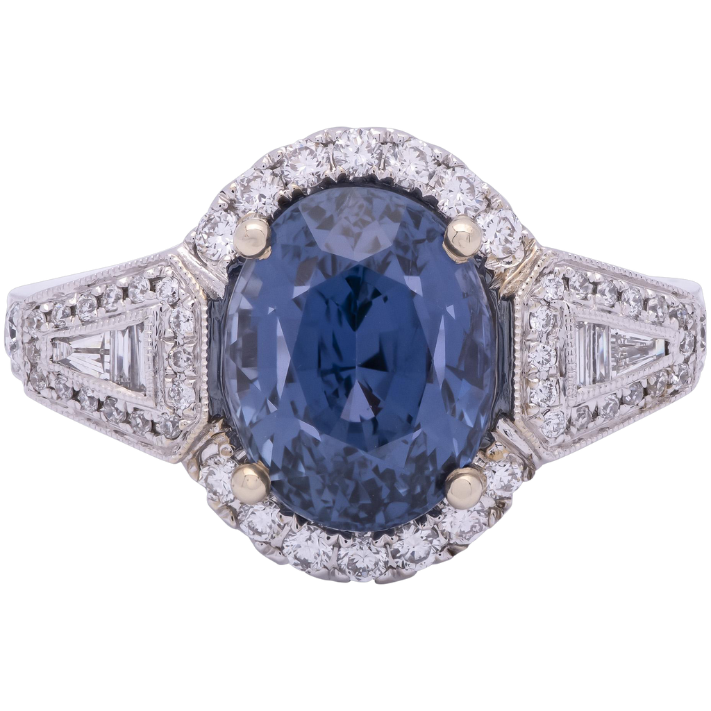Women's Unheated 5.03ct Blue Sapphire Ring in 18k Gold with Diamonds