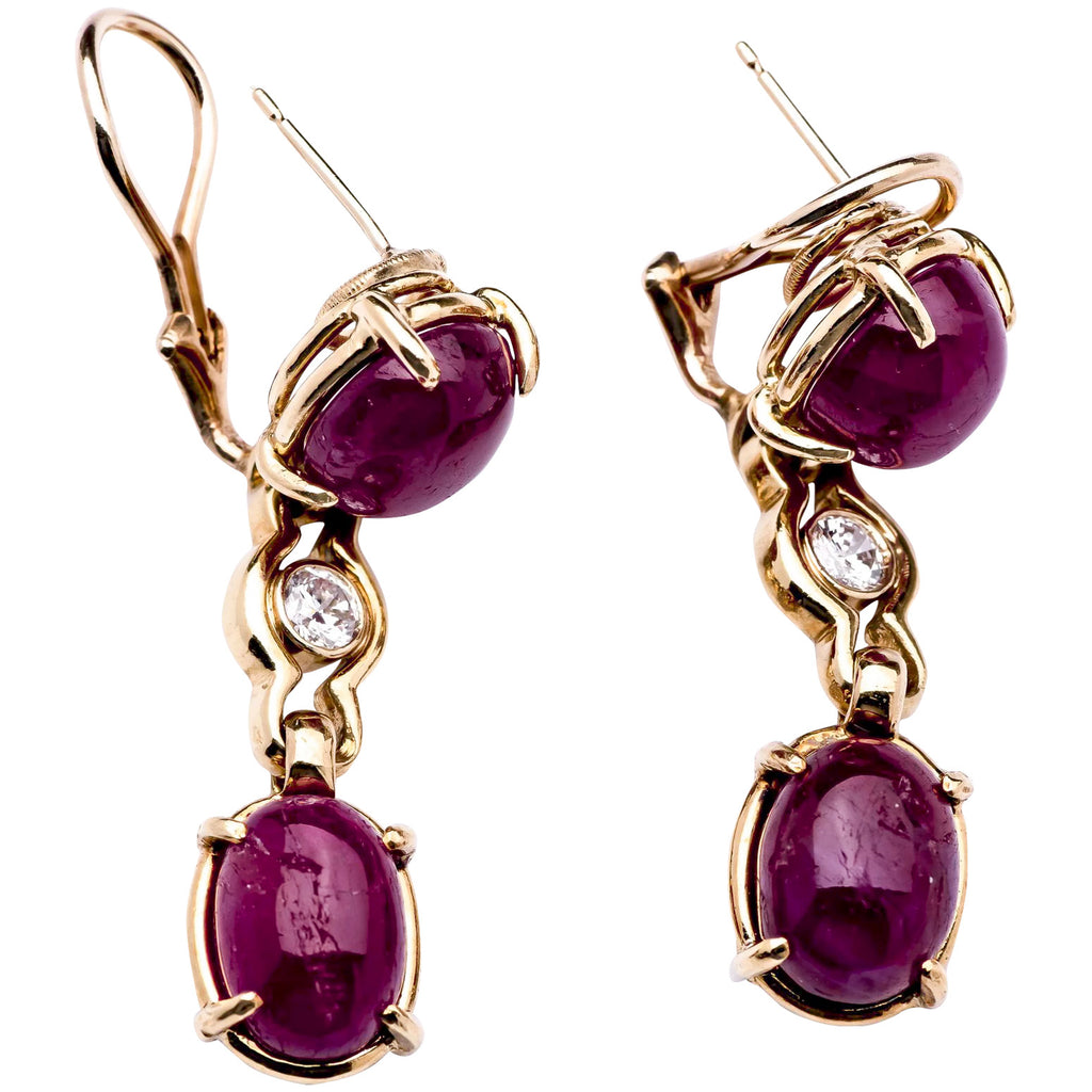 1950s Ruby Earrings in 14k Yellow Gold w/ Diamonds