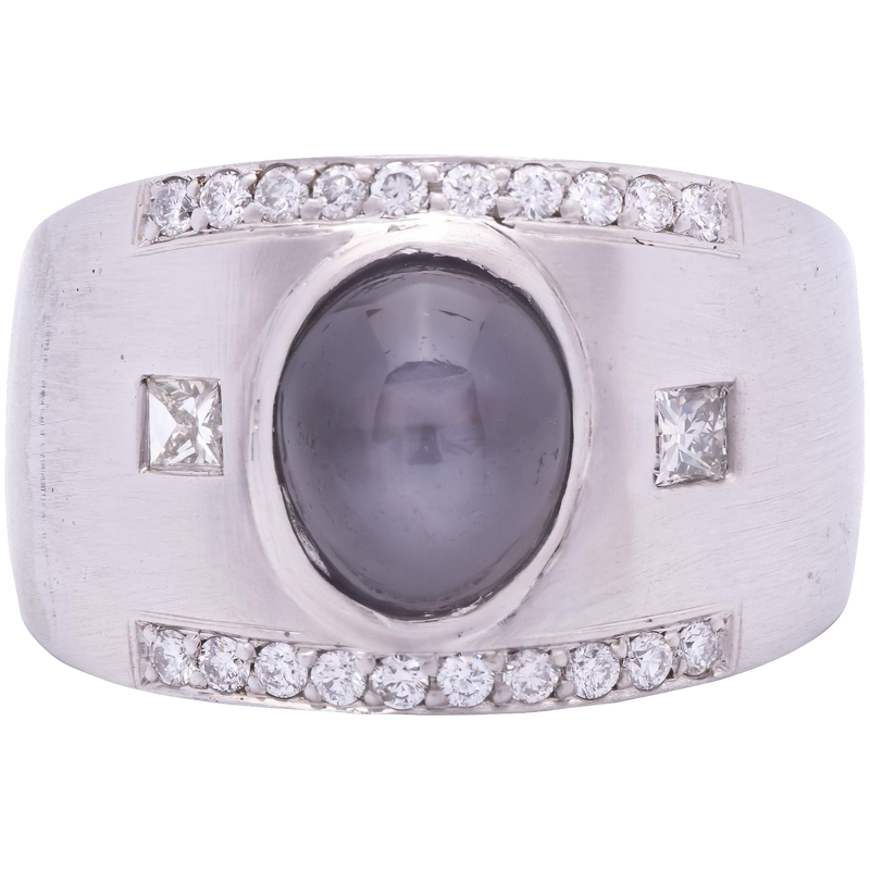 Men's Natural Star Sapphire Ring in 14K White Gold with Diamonds