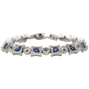 Blue Sapphire Tennis Bracelet in 14k White Gold with Diamonds