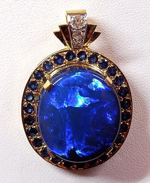 Solid 26ct Black Opal Pendant in 18k Gold w/ Sapphire & Diamonds