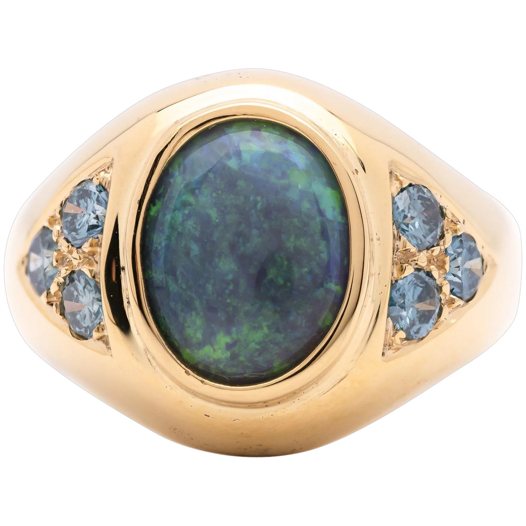 Women's 3.02ct Black Opal Ring in 18k Yellow Gold with Blue Diamonds
