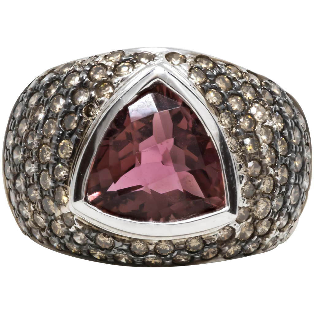 Women's 6ct Pink Tourmaline Ring in 14k White Gold w/ Diamonds