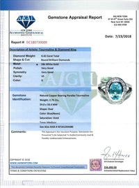 Women's 2.75ct Paraiba Tourmaline Ring in 18k White Gold with Diamonds