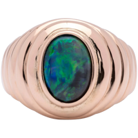 Artisan Ladies 2.0 Cts Green/Orange Lightning Ridge Black Opal Ring in 18k Gold
