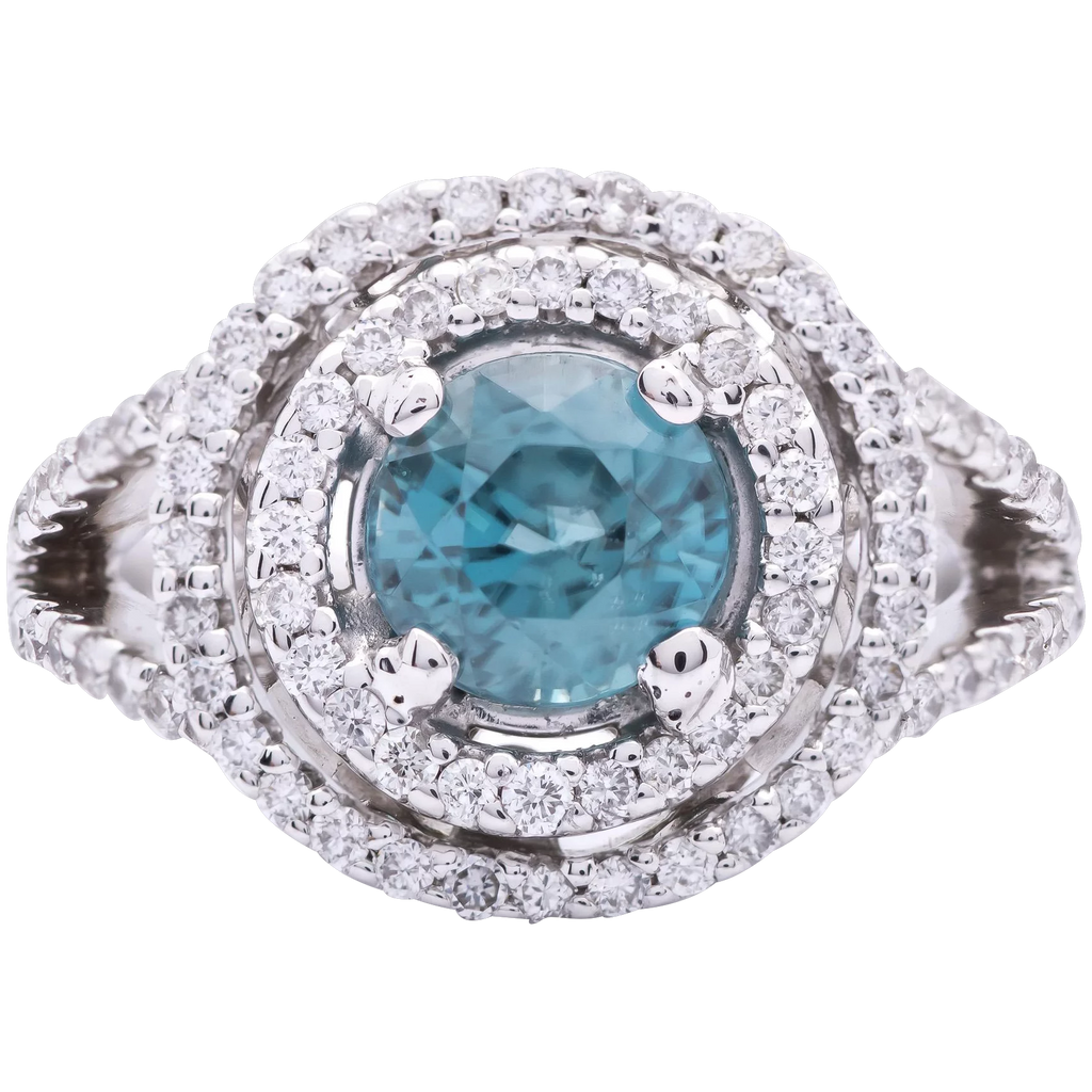 Women's 1ct Blue Zircon Ring in 18k White Gold with Diamonds