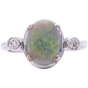 Women's 1.63ct Black Opal Ring in 18k White Gold w/ Diamonds