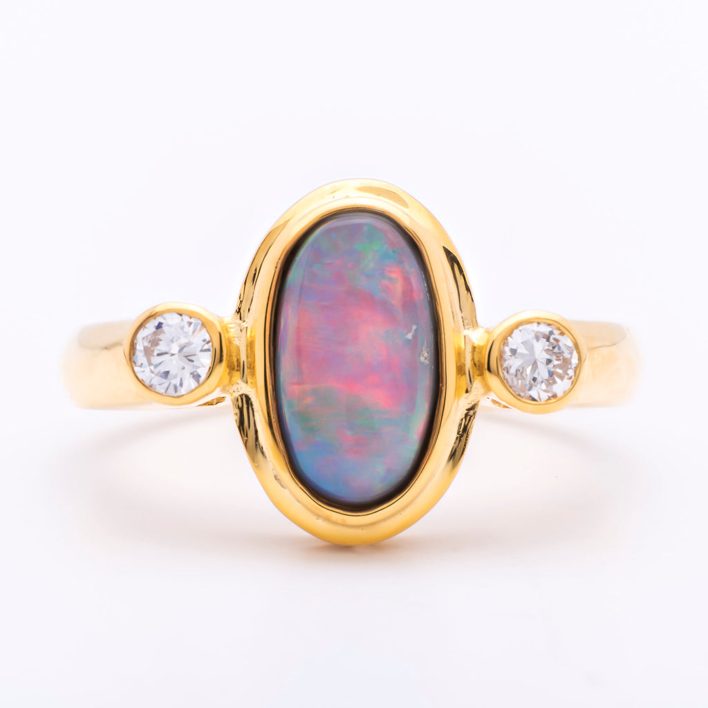 Women's 1.5ct Black Opal Ring in 18k Yellow Gold with Diamonds