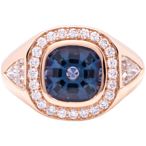 Women's ~2.5ct Blue Sapphire Ring in 18k Gold w/ Diamonds