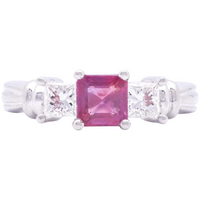 Women's 1970s Estate Pink Sapphire and Diamond Ring in Platinum