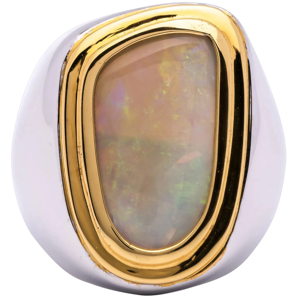 Mens 6ct Natural Australian Opal Ring in Sterling Silver w/ Gold Bezel