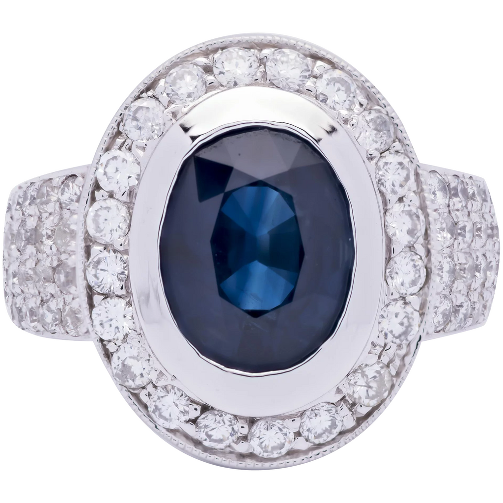 Women's Royal Blue Sapphire Ring in 14k White Gold with Diamonds