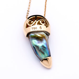 Rare Natural Abalone Paua Shell Pearl with Diamond & Coral in 18k Gold