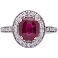 Estate Ladies 2.73 Cts Oval Red Ruby in Platinum with 1.00 carat in Diamonds