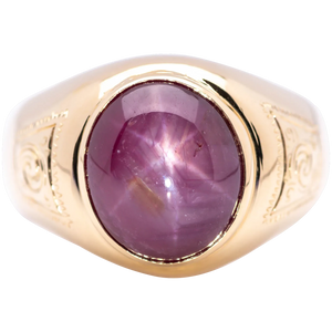 Men's ~10.35 Cts Unheated Star Ruby in 18k Yellow Gold