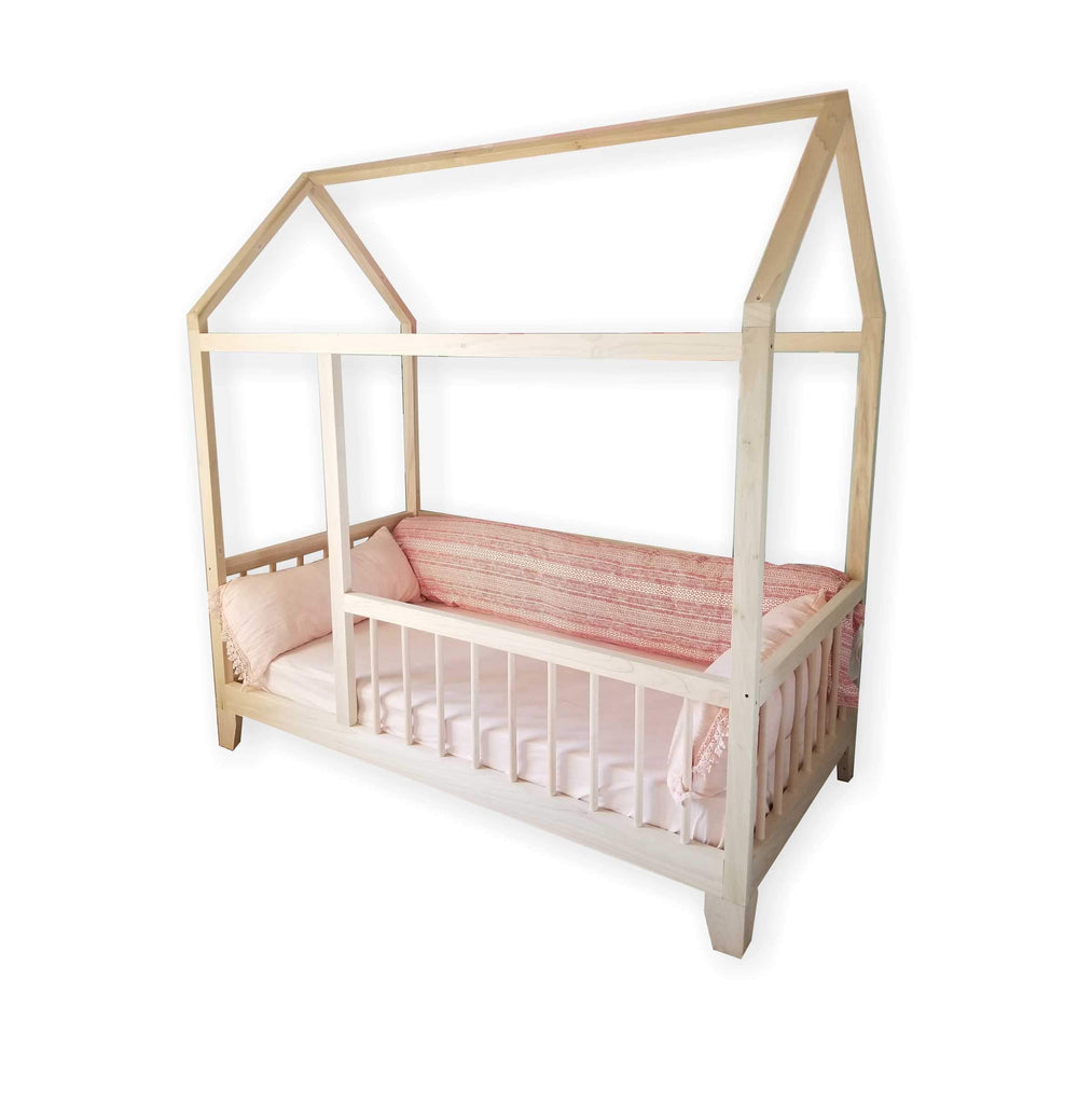 Kids House Frame Bed with Railings