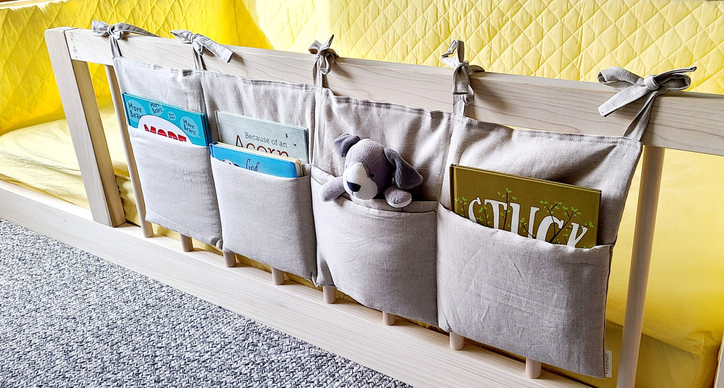 Natural Linen Pocket Organizer-Book Caddy