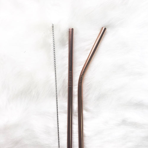 Rose Gold Skinny Metal Straw