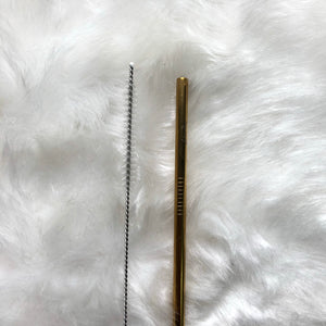 Gold Skinny Metal Straw