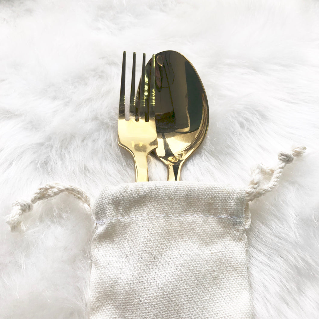 Gold Personal Cutlery Set