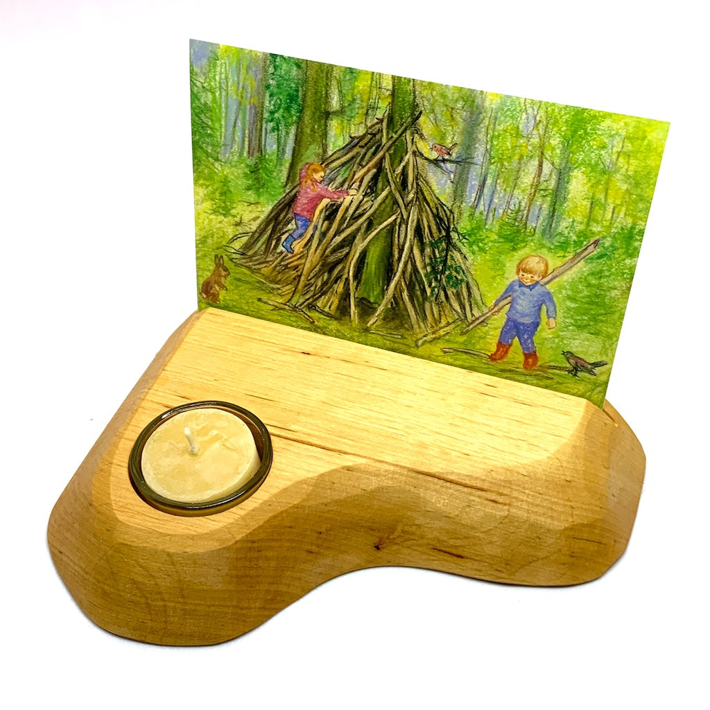Wooden Postcard Holder with Beeswax Tealight