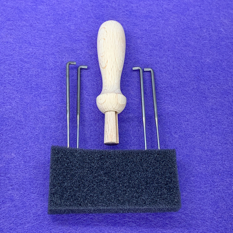 Wooden SINGLE NEEDLE PUNCH with extra needles