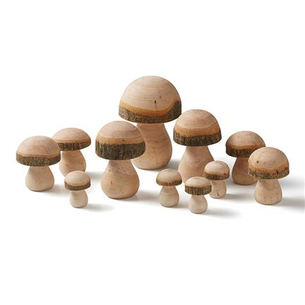 Complete Wooden TOADSTOOL Family