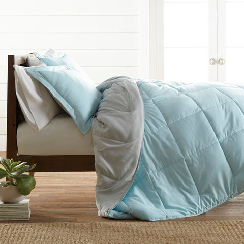 Reversible Down Alternative Comforter Aqua/Lt.Gray