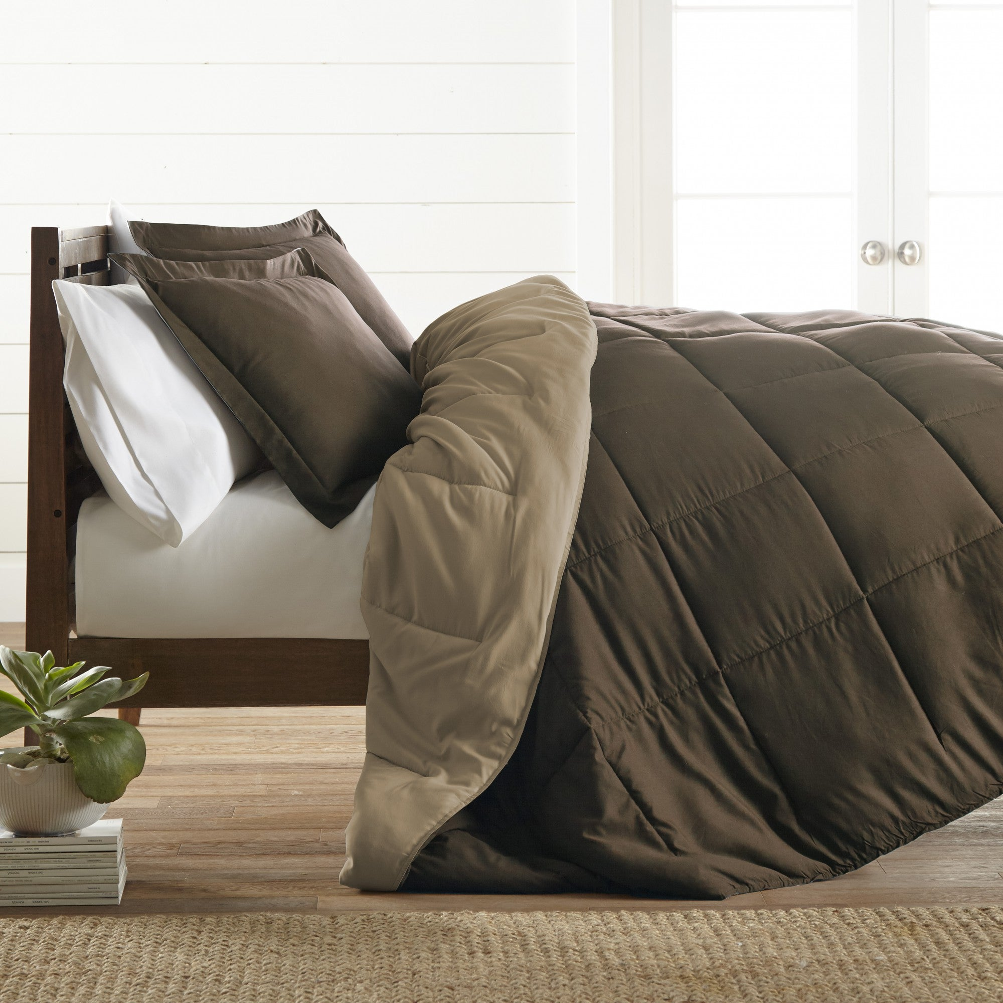Reversible Alternative Down Comforter Chocolate Taupe Linens Wholesale