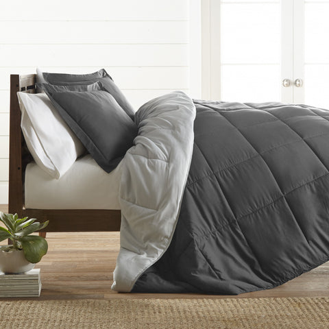 Reversible Down Alternative Comforter Grey/Lt Grey - Linens Wholesale