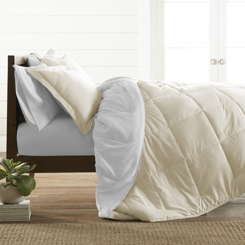 Reversible Down Alternative Comforter Ivory/White - Linens Wholesale