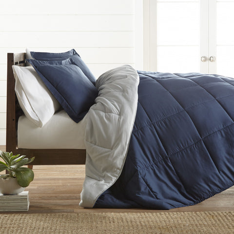 Reversible Down Alternative Comforter Navy/Lt. Grey