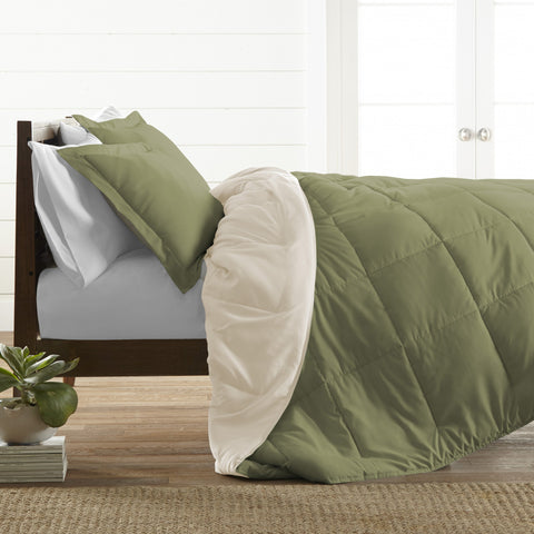 Reversible Alternative Down Comforter Sage/Ivory - Linens Wholesale