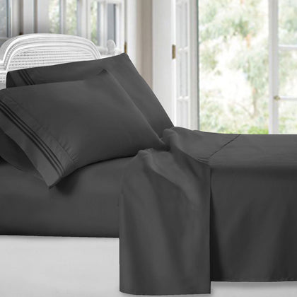 Patrick Michelle Charcoal Sheet Set with corner straps - Linens Wholesale