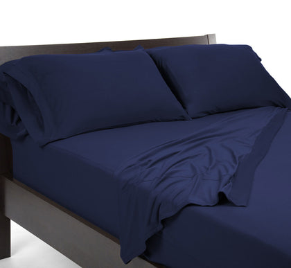 100% Bamboo Navy Sheet Sets with corner straps