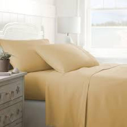 Patrick Michelle Gold Sheet Sets with corner straps - Linens Wholesale