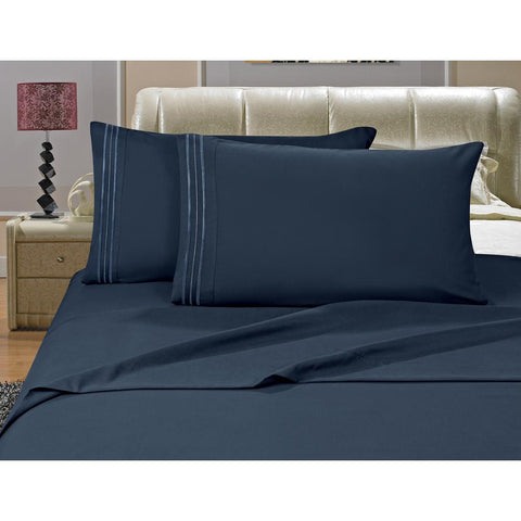 Patrick Michelle Navy Sheet Set with corner straps
