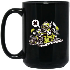 Hot Rod Skull 15 oz. Black Mug