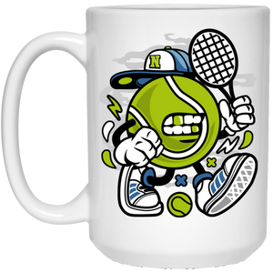 Let's Play Tennis 15 oz. White Mug