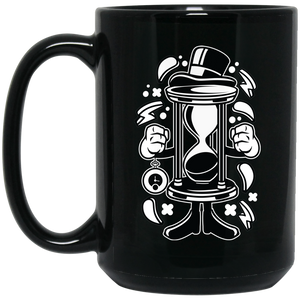 Hour Glass 15 oz. Black Mug